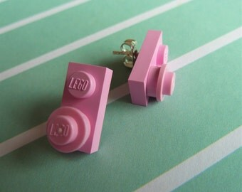 Pink Lego® earrings - hypoallergenic - quirky kitsch fun gift