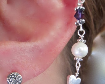 "EARRINGS, ""Serenity"" EAR~LACE, Ear Lace, Sterling Silver, Pearls, Crystals, Purple, Handmade, Bali, Heart, Quality"