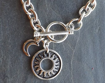 Silver Sun and Moon charm bracelet / Celestial bracelet / Silver link charm bracelet with toggle closure