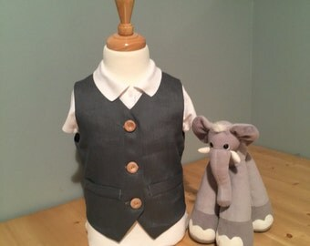 Boys Charcoal Grey Linen Vest | Ring Bearer | Shabby Chic Wedding | Toddler Vest | Grey Vest | Boys Linen Waistcoat | Charcoal Boys Vest