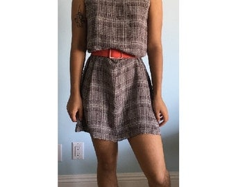 Vintage sz XS/S brown patterned dress