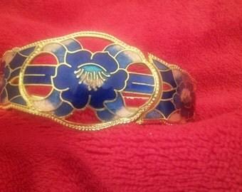 Vintage Cloisonne Enamel flower bracelet