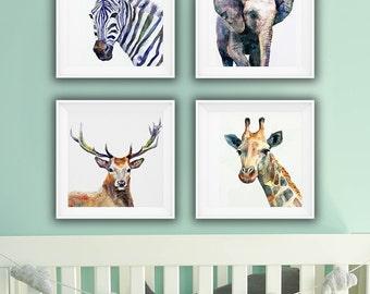 Set of 4 Animals, Watercolor Nursery Decoration, Zebra, Giraffe, Elephant and Deer, High Resolution Kids Room Set of Printable Posters