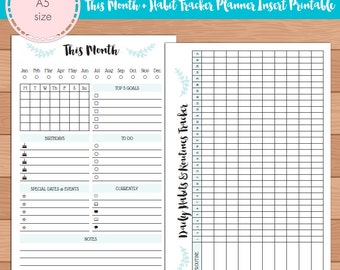 A5 This Month with Habit Tracker Monthly Planner Insert Printable | Fits Kikki K Large & Filofax A5 INSTANT DOWNLOAD