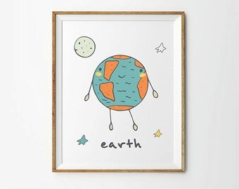 Earth Planet Print, 5 x 7 in, 8 x 10 in, Space art, Nursery art, Space illustrations,  Nursery decor, Baby prints, Printable Wall Art