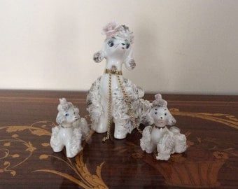 SALT!!! Small doggies in white/Vintage Spaghetti Poodles/Vintage ornament/figurines made of white and Golden puppies
