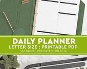 "2016 Printable Day Planner (US Letter Size 8.5"" x 11"") - BONUS Customizable Cover Page, 2016 planner, day view, daily planner, elegant home"