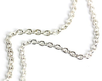Just the Chain. Silver Plated Necklace Chain. Build Your Own Charm Necklace. Silver Necklace Chain with Lobster Clasp. Replacement Chain.