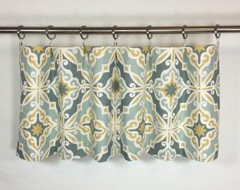 Blue Gold Valance - Window Valance - 50x16 - Cotton Lined - Harford Saffron Macon Print - Rod Pocket -Scalloped - Curtain