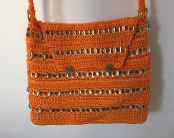 Sunshine Orange Cross-Body bag with recycled can tops