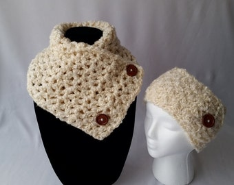Neck warmer scarf and adjustable ear warmer set