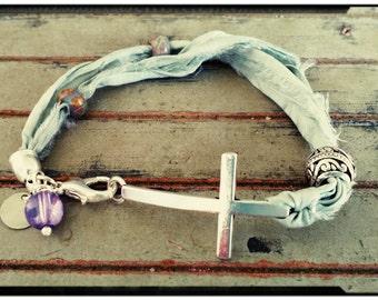Silk Cross Bracelet - Aqua Green Sari Silk with Czech and Silver Beads//Bohemian//Christian Bracelet//Religious//Initial Charm -Gift for Her