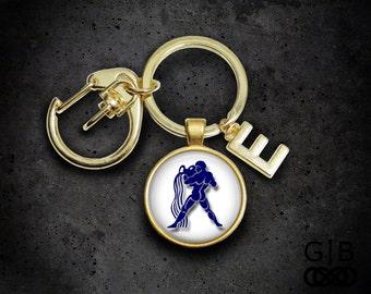ON SALE Aquarius Keychain Astrology Aquarius Keychain - January Keychain Accessory - Aquarius Astrology Keychain Accessory - Zodiac Birthday