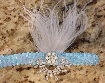 Aqua Blue Sequin Feather Headband