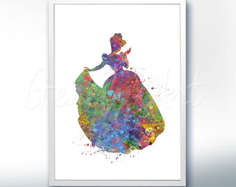 Disney Cinderella Watercolor Poster Print - Wall Decor - Watercolor Painting - Watercolor Art - Kids Decor- Nursery Decor