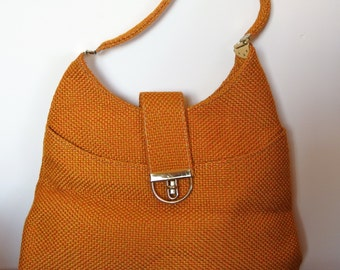 1970s Raffia HoBo BoHo Bag Purse yellow orange weave