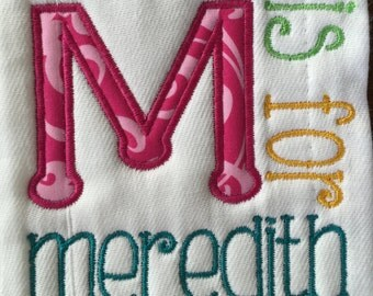 Personalized Diaper Burp Cloths Set of 2 - Snuggle Leter