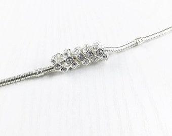 Clear Rhinestone Silver Spacer Beads, European Bead, Silver Spacer Rings, Rhinestone Bead, European Charm Beads, EB1332