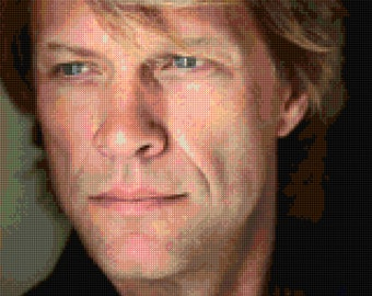 Jon Bon Jovi portrait Cross stitch pattern  PDF - Instant Download!