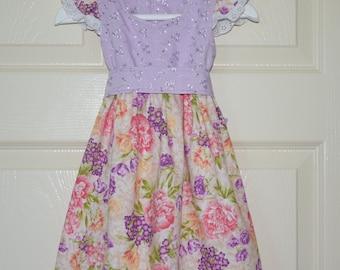 Baby Girl Dress, Toddler Dress, Girl Dress,Floral Dress, Floral Baby Dress, Floral Toddler Dress, Broderie Anglaise Dress, Baby Girl Outfit