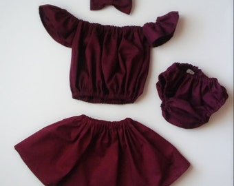 Girl's Off The Shoulder top and skirt set