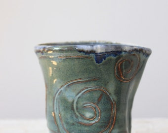 Carved stoneware creamer | Small handleless pitcher