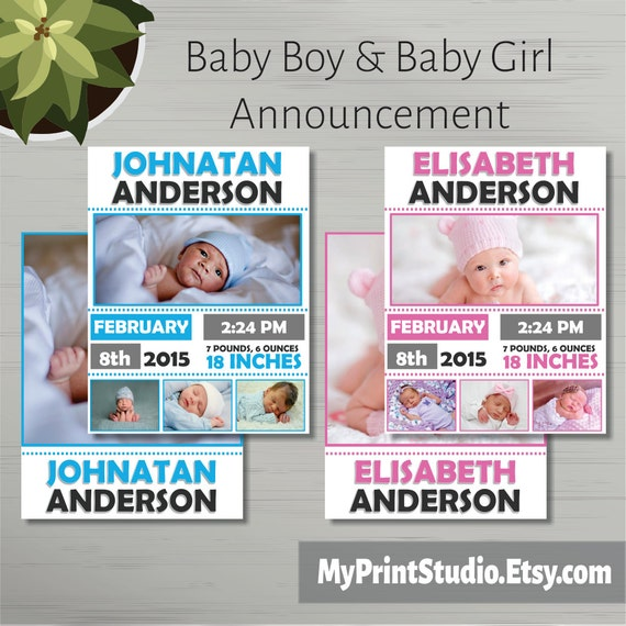 Baby Gift Announcement : Baby boy girl announcement card template in ms word newborn
