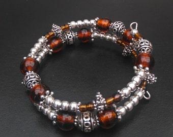 Amber Coloured Memory Wire Bracelet, Beaded Memory Wire Bracelet, Memory Wire Bracelet, Amber Bead Bracelet