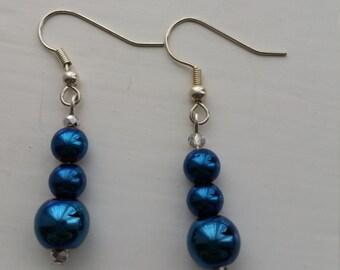 Handmade Earrings with Blue Pearls