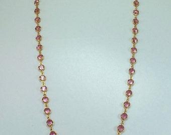 "Raindrops Necklace - Light Rose/Gold 36"" Swarovski crystal"