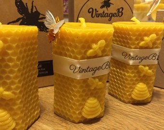 100% Pure English Beeswax Pillar