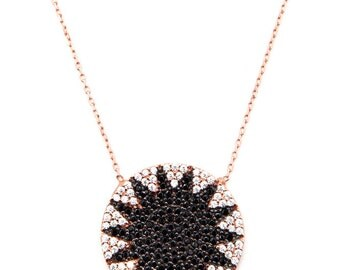 """Rose Gold Starburst Necklace. 17""""  925 Sterling silver with 14K gold plated."""
