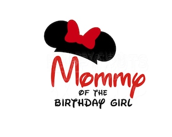 Mommy of the Birthday Boy / Mommy of the Birthday Girl  Minnie Mouse Ears Bow Classic Matching Family Disney Iron On Decal Vinyl Shirt 061