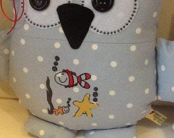 Gone Fishing Owl cushion