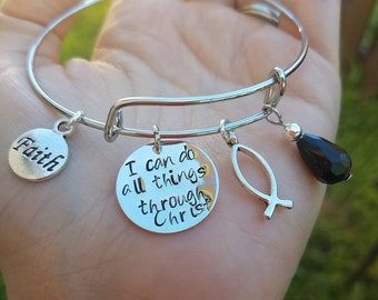 Christian Bracelet, I can do all things through Christ, Todo lo puedo en Cristo, Philippians 4:13 bracelet, Catholic bracelet
