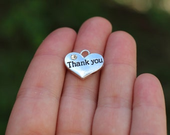 10 pieces Stamped Heart, thank you heart charm, Heart Charm with Rhinestone, thank you charm, thank you gift diy, thank you heart B55303