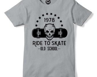 Ride to Skate T Shirt Old School Skateboard Top Skull Indie Emo tshirt 209