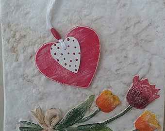 Shabby chic, rustic home decor. Wooden hearts to hang, red and white with pearly red dots, handpainted. Rustic wedding, bouquet charms. OOAK