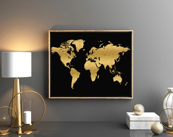 Black map etsy printable world map large gold world map 36x24 printable printable world map gold nursery map gold gumiabroncs Image collections