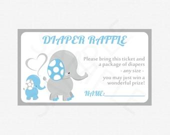 Blue Elephant Baby Shower Boy, Diaper Raffle, Baby Elephant Diaper Raffle Tickets AND Sign, Diaper Raffle Cards, Printable Download, ELLBG