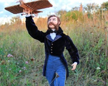 OOAK Art Doll Portrait Doll A.F.Mozhaysky. The inventor and developer of the world's first aircraft that lifted the man into the air.