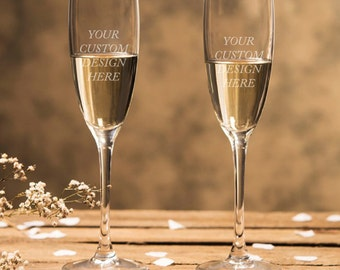 Engraved - Custom Design - Toasting Champagne Flutes (2pcs)