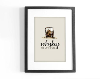 "Quote ""Whiskey, The Water of Life"" Printable Colored Art. Hand Lettering Inspirational Quote. Digital Download."