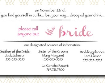 """Wedding Day Card - 5 1/2"""" x 3 1/2"""" PRINTABLE  CUSTOMIZED """"Please Call Anyone But The Bride"""" cards for wedding days and welcome bags"""