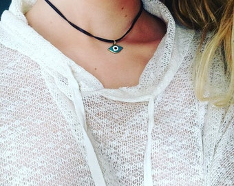 Evil Eye Leather Necklace