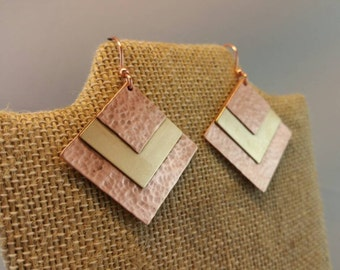 Textured Earrings, Copper and Brass, Metalwork Earrings, Trendy Earrings, Mixed Metal, Metalwork Jewelry, Brass Jewelry, Copper Jewelry