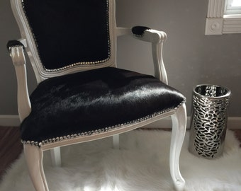 Genuine Cowhide French Chair, Hollywood Glam, Crystal Nailhead Trim