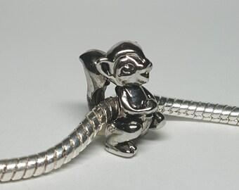 Silver Squirrel Charm for European Bracelets (item 186)