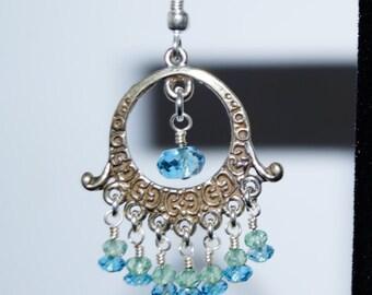 London Blue Topaz, Green Topaz and Sterling Silver Earrings