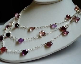 Moss Amethyst and Sterling Silver Triple-Strand Necklace